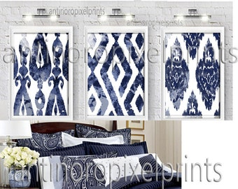 Art Watercolor Ikat Navy Blue White Print Wall Art Prints  - Set of (3) - 8x10 Prints - Custom Colors Available(UNFRAMED) #224399209