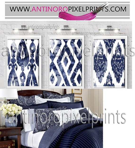 Navy Blue Wall Art wall art watercolor navy ikat dark navy blue white wall art
