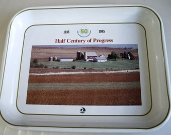 Farmhouse Advertising Tray, Enamel Metal Tray, Conservation NRCS Commemorative Tray, man cave serving tray, agriculture history home decor