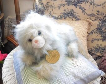 Dakin Soft Classic Furry Long haired Cat 1988, Grey and White Bright Blue Eyes, Stuffed cat, Dakin Stuffed Cat, Vintage Stuffed toys :)S