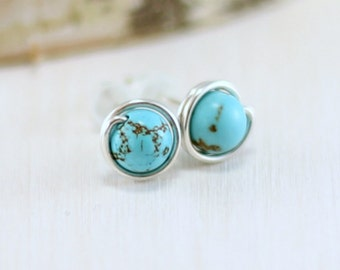 Turquoise Earrings, Sterling Silver Genuine Turquoise Stud Earrings Wire Wrapped Post Earrings December Birthstone