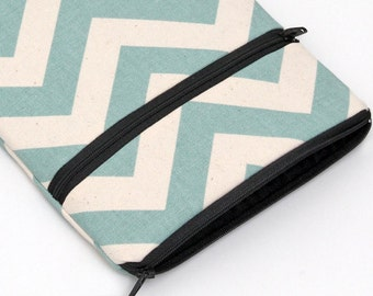 Apple iPad Mini 2 3 Cover with Front Pocket, Kindle Fire HD 7 6, HDX 7 8.9, Padded with Foam - spa blue chevron