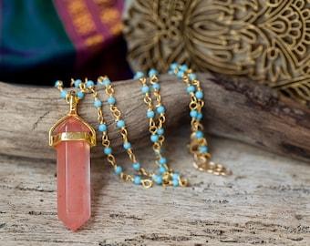 QUARTZ PENDANT POINT necklace - rosary chain - turquoise necklace - peach quartz - bohemian jewelry - beach jewelry - beach jewelry - boho