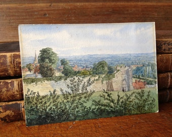 1881 Watercolor Painting English Castle York by F. Lightfoot