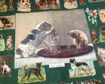 1950s England Scrapbook on Linen, Seasonal Ephemera, Oversized, Colorful Dogs Cars Airplanes Fashion Florals Adevertisements
