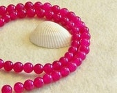 Ruby, Dark Pink colored Jade 8mm  beaded gemstone stretch, stacking, healing, girls, baby bracelet SS010