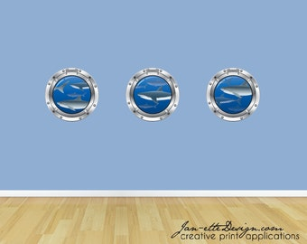 Shark Wall Decals, Porthole Wall Sticker, Ocean Wall Decals, Under the Sea Art, Wall Stickers