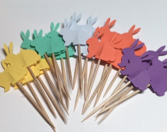24 Bunny Cupcake Toppers (Sugar Candy)/Food Picks/Toothpicks/Easter/Spring No. 223
