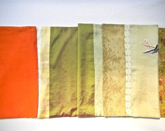 Bird Applique, Silk Crepe Scarf, Shawl, Handmade from Vintage and New Fabrics - Collage Scarf