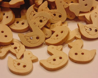 6 wood duck buttons, 17 x 17 mm (35)