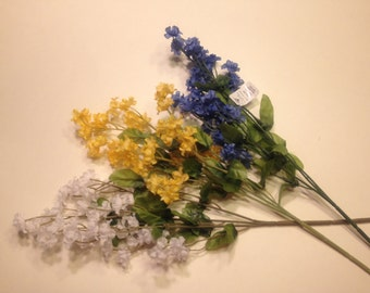 set of 3 silk baby's breath flower stems, white, yellow and blue (DD)