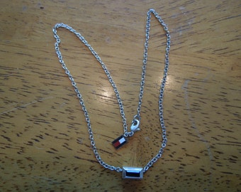 Vintage Necklace, Tommy Hilfiger.  Silver Toned Link Chain, Small Ingot.  Signed Piece.  16 Inches