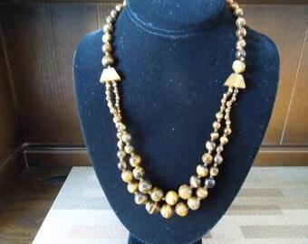 Vintage Necklace and Earrings Set.  Tiger's Eye, Hook Earrings, Beautiful