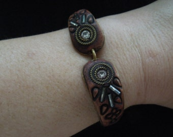 Vintage Unusual Bracelet, Wood, Leather, Rhinestones.  Different