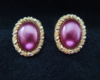 Vintage Clip Earrings, Gold Tone with Dark Pink Almond Pearl, Excellent Condition