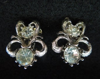 Vintage Clip Earrings, Small Silver Tone with Clear Rhinestones.  Nice Condition