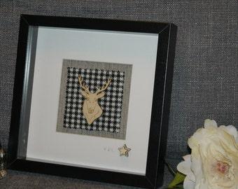 Stags head on Harris Tweed Framed Gift