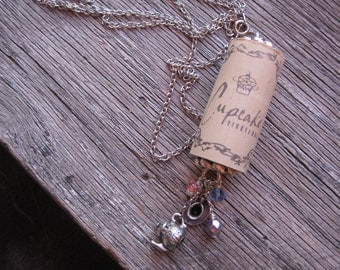 Wine Cork Necklace SALE, Cupcake Wine Cork Necklace Teacup and Teapot