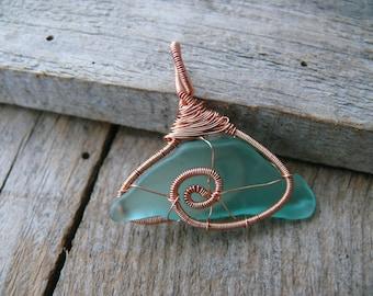Wire wrapped pendant, sea glass jewelry, sea glass pendant, copper wire, Birthday gift, genuine sea stone, beach stone pendant, Black sea