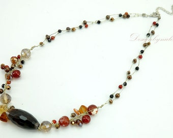 Tiger eye,carnelian on silk necklace.