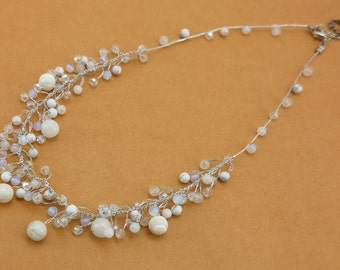 Freshwater pearl,crystal on silk necklace.