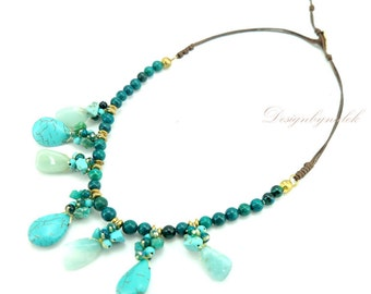 Turquoise,crystal on cotton thread necklace.