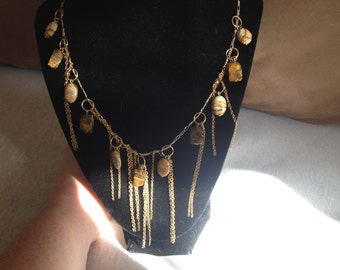 Vintage Handmade Goldtone Necklace with Tigers Eye Stone Accents