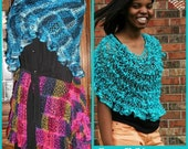 Natalie a net yarn shawl and wrap crochet pattern, two patterns in one, one size