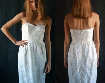 1980's French wedding short corset dress lace of Calais Single model