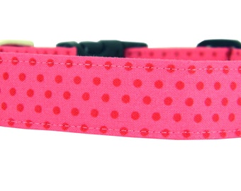 Hot Pink Dog Collar/ Polka Dot Dog Collar: Watermelon Dot