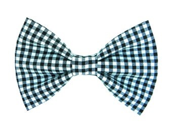 Black and White Check Dog Bow Tie/ Gingham Dog Bow: B & W Check