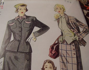 Vintage 1950's Simplicity 3111 Suit and Halter Blouse Sewing Pattern, Size 16, Bust 34