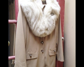 Josephine....Russian-inspired Slit Sided Walking Coat with Vtg Ivory Fur Collar, Heirloom Brooch, Vintage Rhinestone Buttons