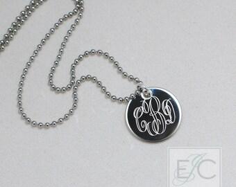 "elegant monogram engraved necklace, .625"" pendant"