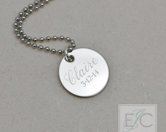 "name and date engraved necklace, .625"" pendant"