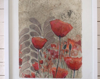 Red Poppy with Gray-- original art in frame