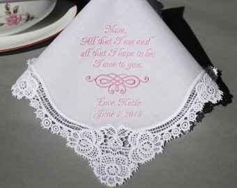 Personalized Wedding Handkerchiefs Embroidered to Mother of Bride (Monogram / Custom) #4301