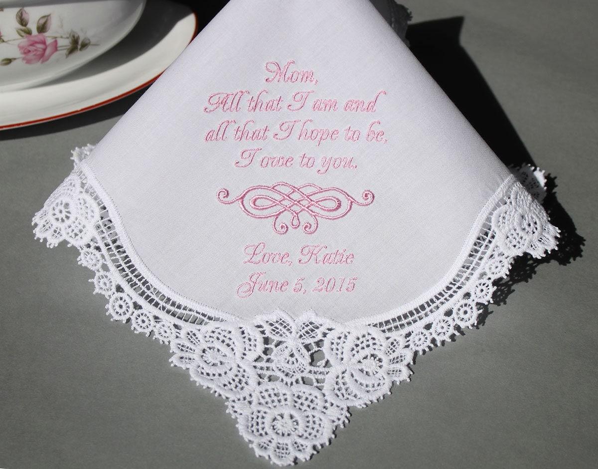 Personalized Wedding Handkerchiefs Embroidered To Mother Of