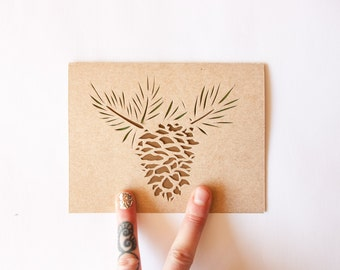 Holiday Card Set of 10: Limber Pine Card Set--Laser cut card set--Pine Cone Cards
