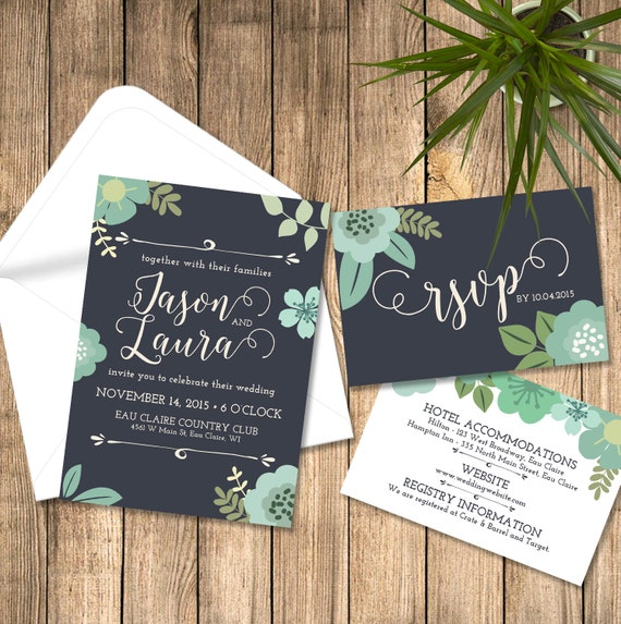 items similar to wedding invitation floral navy and mint With minted navy wedding invitations