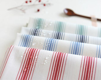 Laminated Cotton Fabric Stripes - Navy, Blue, Red or Mint - By the Yard 73360