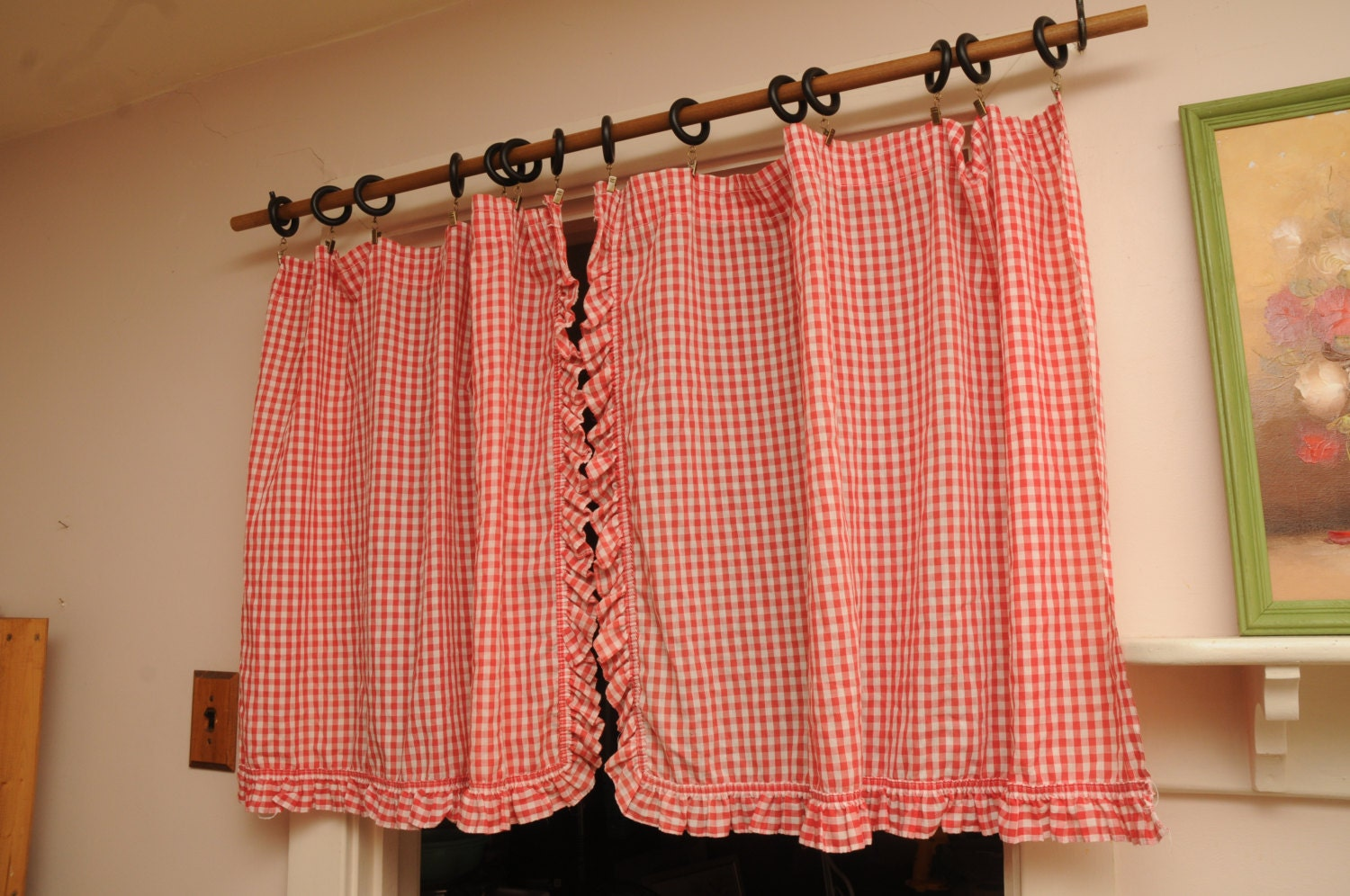 vintage cafe curtains pair panels red gingham white ruffle