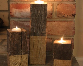 Reclaimed Wood Votive Holder - Hand Painted - Oak