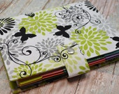 Planner Cover - in Green and Black Butterfly fabric - H2