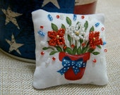 Patriotic Flower Pot Mini Dollhouse Pillow