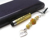 Yellow Gold (Paw Print) Bead Cell Phone Charm - Yellow Mini Stylus - Cell Phone Charm - Stylus Charm - Cell Phone Dust Plug - Tablet Stylus