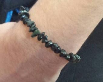 Birthday Gift for Husband Under 25, Men's Cancer Awareness Bracelet, Rustic Black Stone Obsidian, Melanoma Awareness Jewelry,