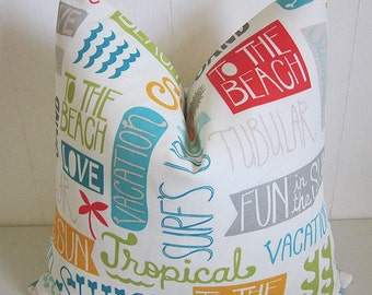 Summer Script Beach Indoor Outdoor Pillow Cover Novelty Fun Sayings Decorative Throw Pillow Nautical Sun Sand Surf Words Pillow Cover