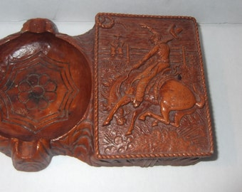 Vintage, primitive, Will Rogers ashtray and cigarette holder, great piece of Americana from Palidise Ca State Park
