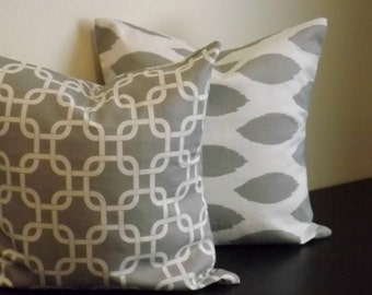 Decorative Throw Pillow Covers,Set of Two 16x16, 18x18 Gray and White Chipper ikat Gotcha Print, Accent Pillow, Pillow Shams, Toss Pillows